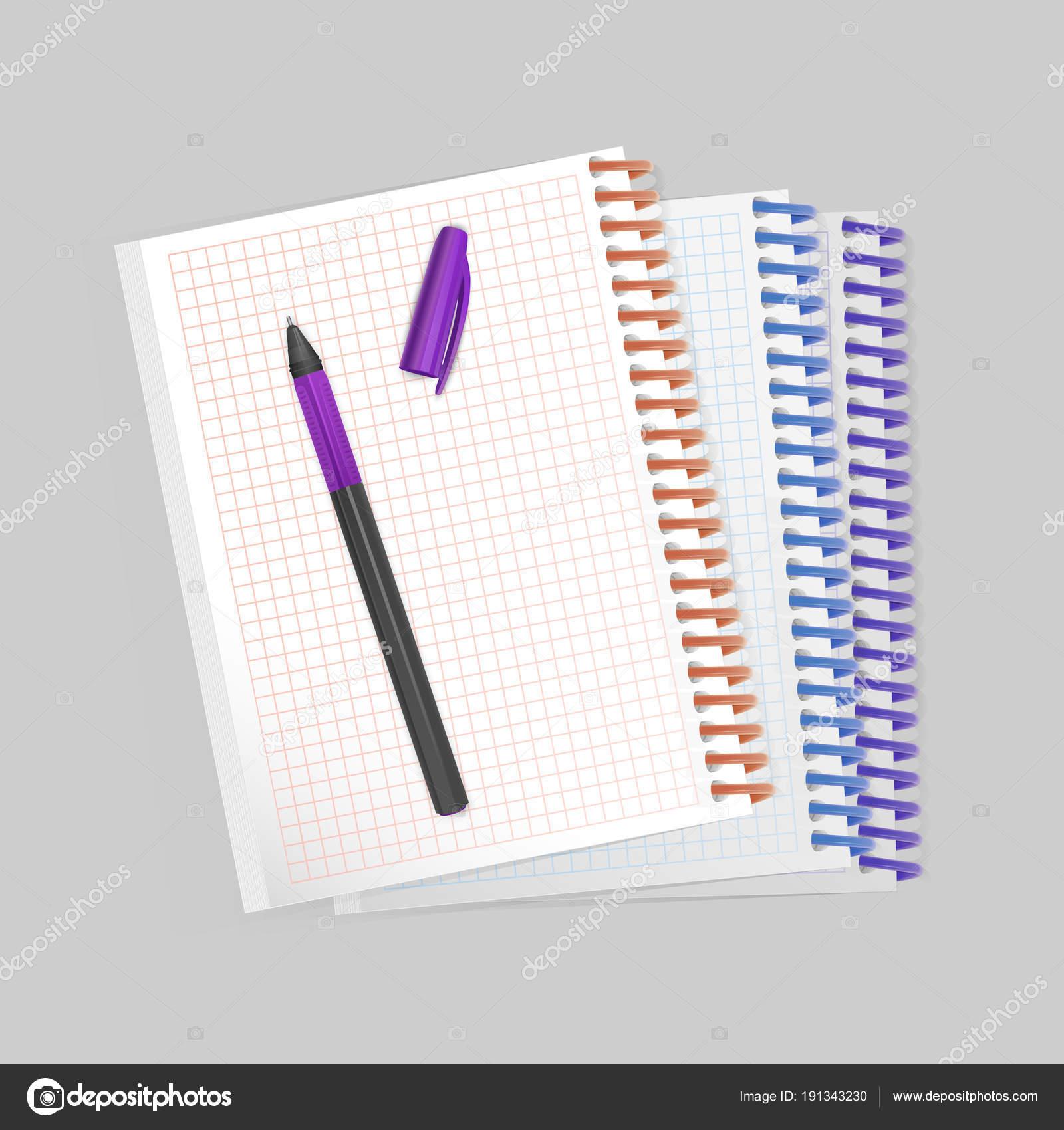 Prázdná spirála notebook Poznámkový blok s realistickou fialové pero na  bílém pozadí. Zobrazit vzorovou pro vaše položky ab5ed3d627