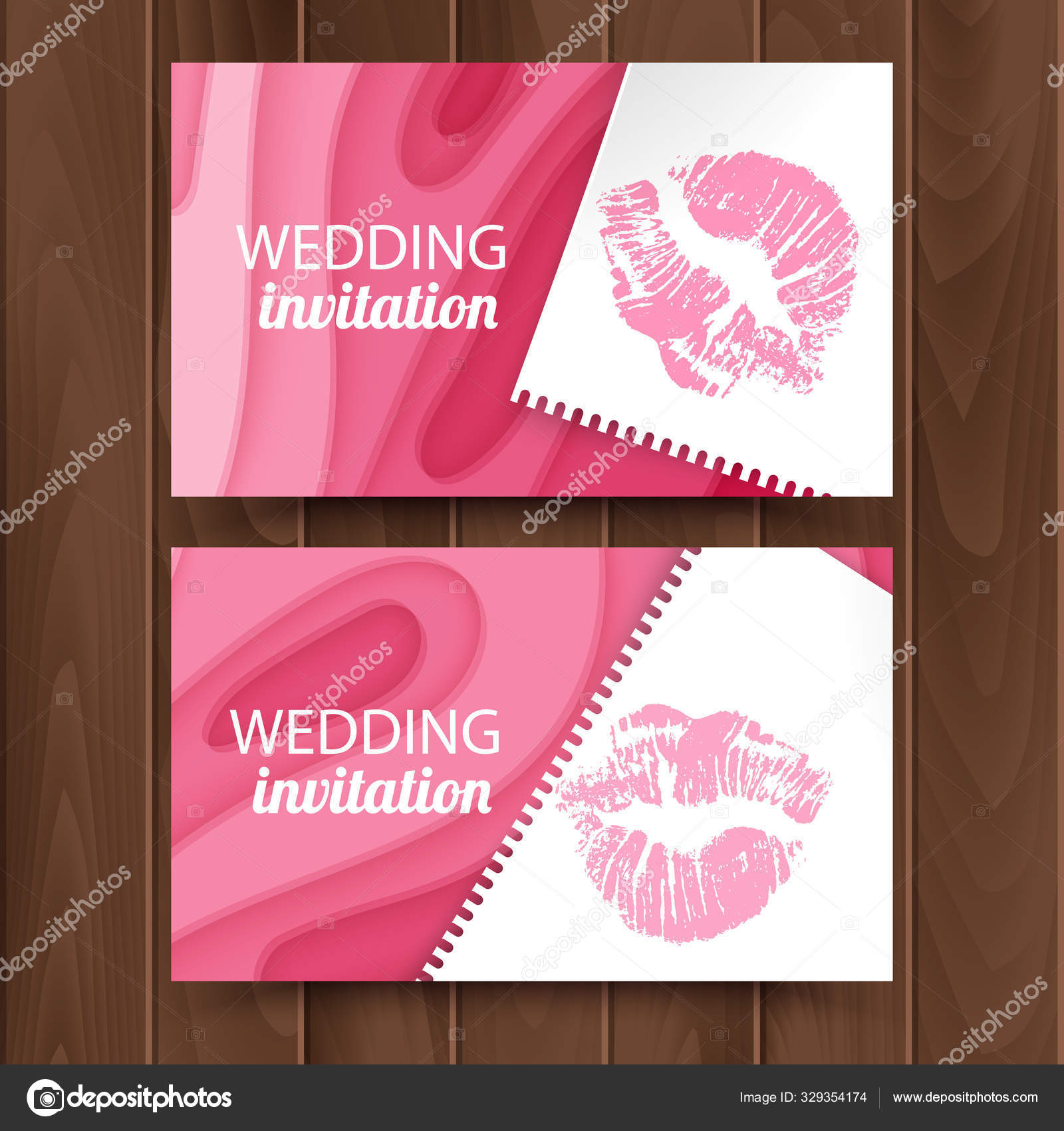 Postcard Template For Wedding Invitation With Paper Cut Design Of Pink Color Template Of Cutting Design Vector Eps 10 Format Stock Vector C Razalina 329354174