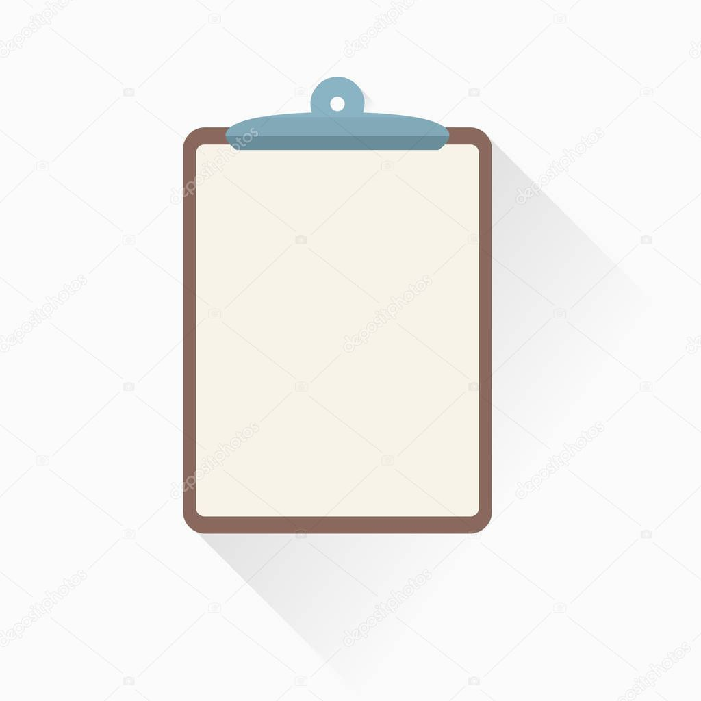 Clipboard icon in flat style with simple shadow. Vector illustration