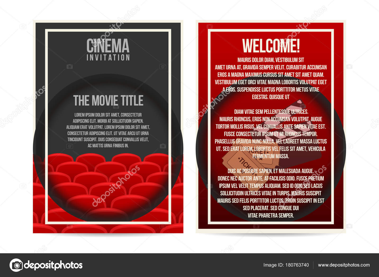 cinema poster invitation flyer template size cinema seat rows tickets stock vector