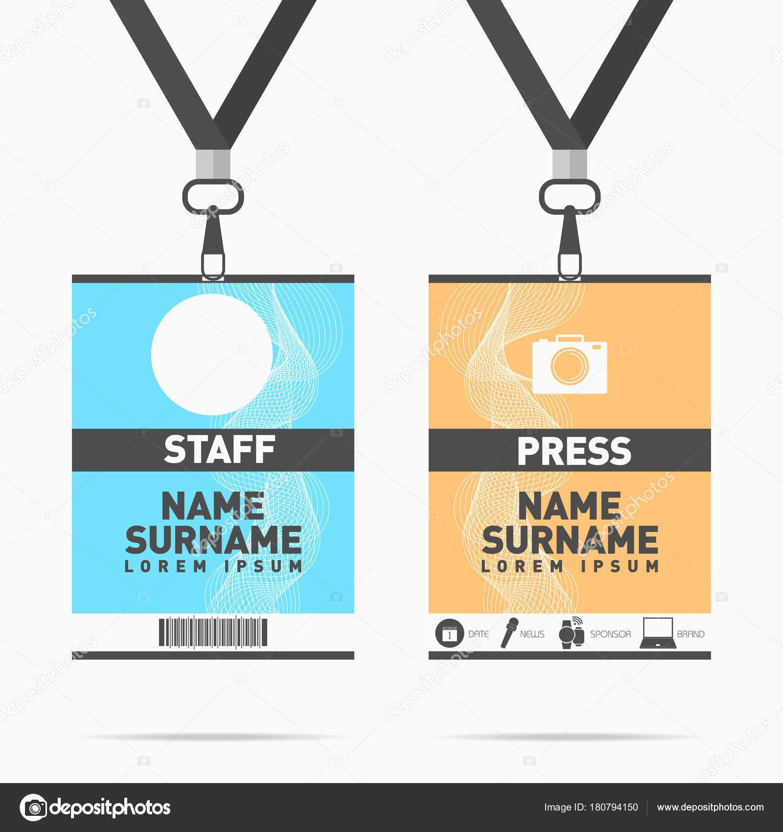 Tarjetas Identificación Personal Prensa Evento Conjunto Con Cordones ...