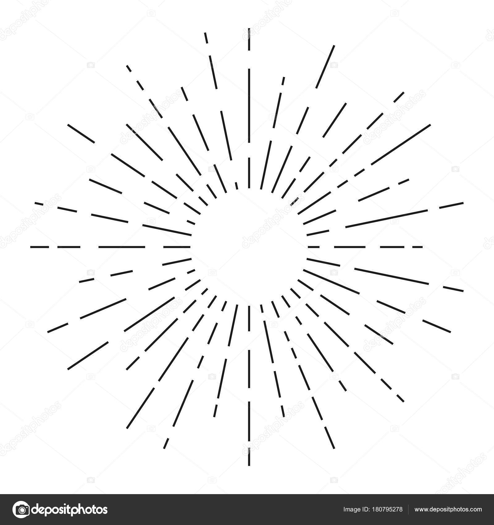 Sunburst Sunshine Rays Vintage Style Light Rays Radial Sunbeam ... for Vector Light Rays Vintage  34eri