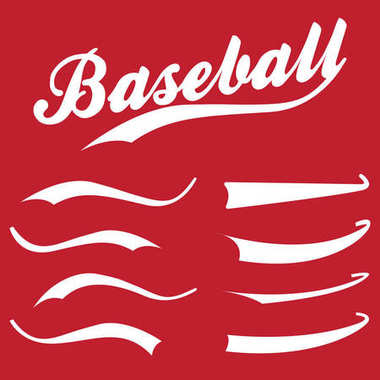 Swooshes, underline elements for sports design, typography for t-shirt. Baseball retro hand drawn swishes. Vector