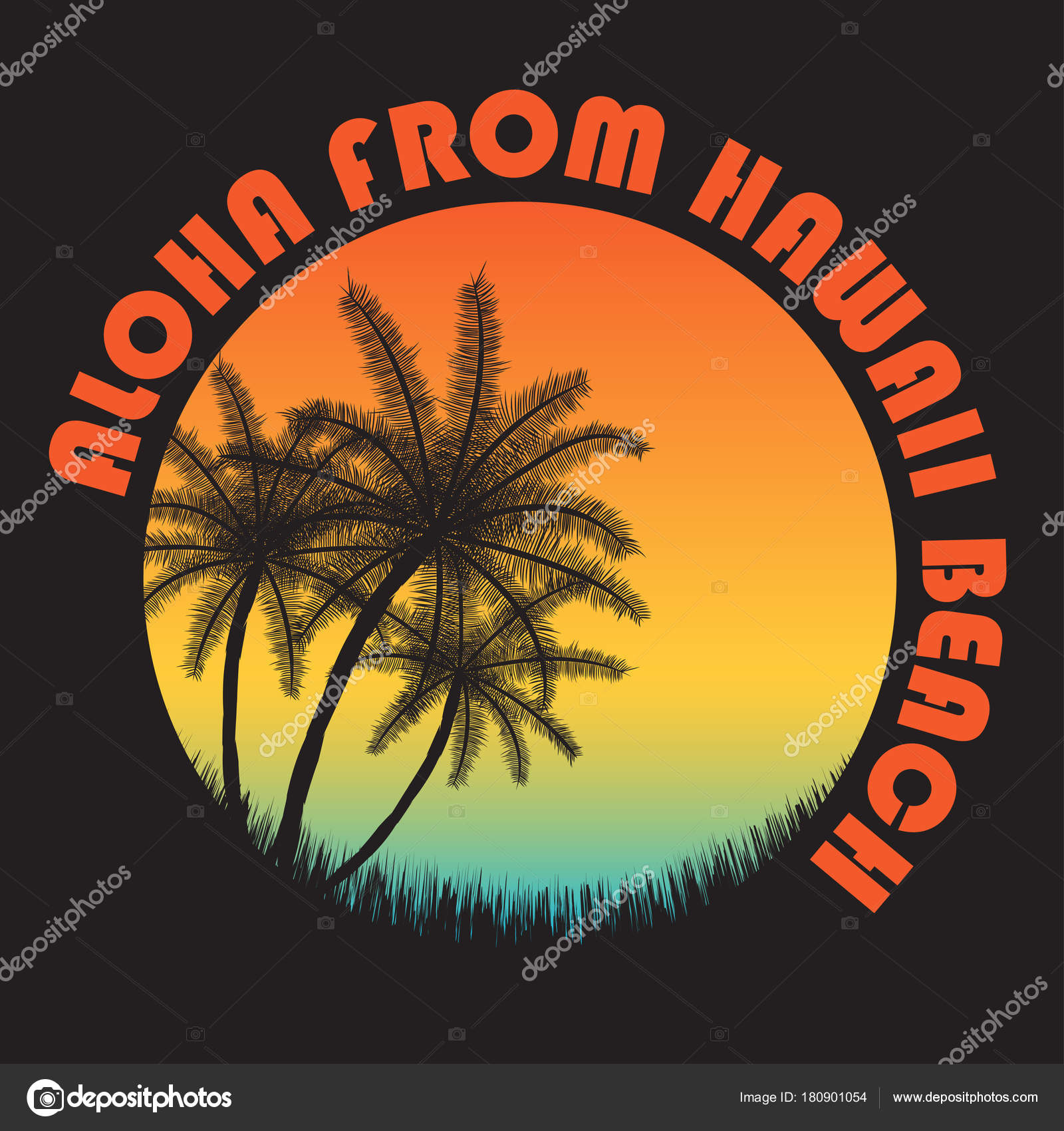 5a4a4fa2 80s style vintage Hawaii typography. Retro t-shirt graphics with tropical  paradise scene and tropic palms– stock illustration