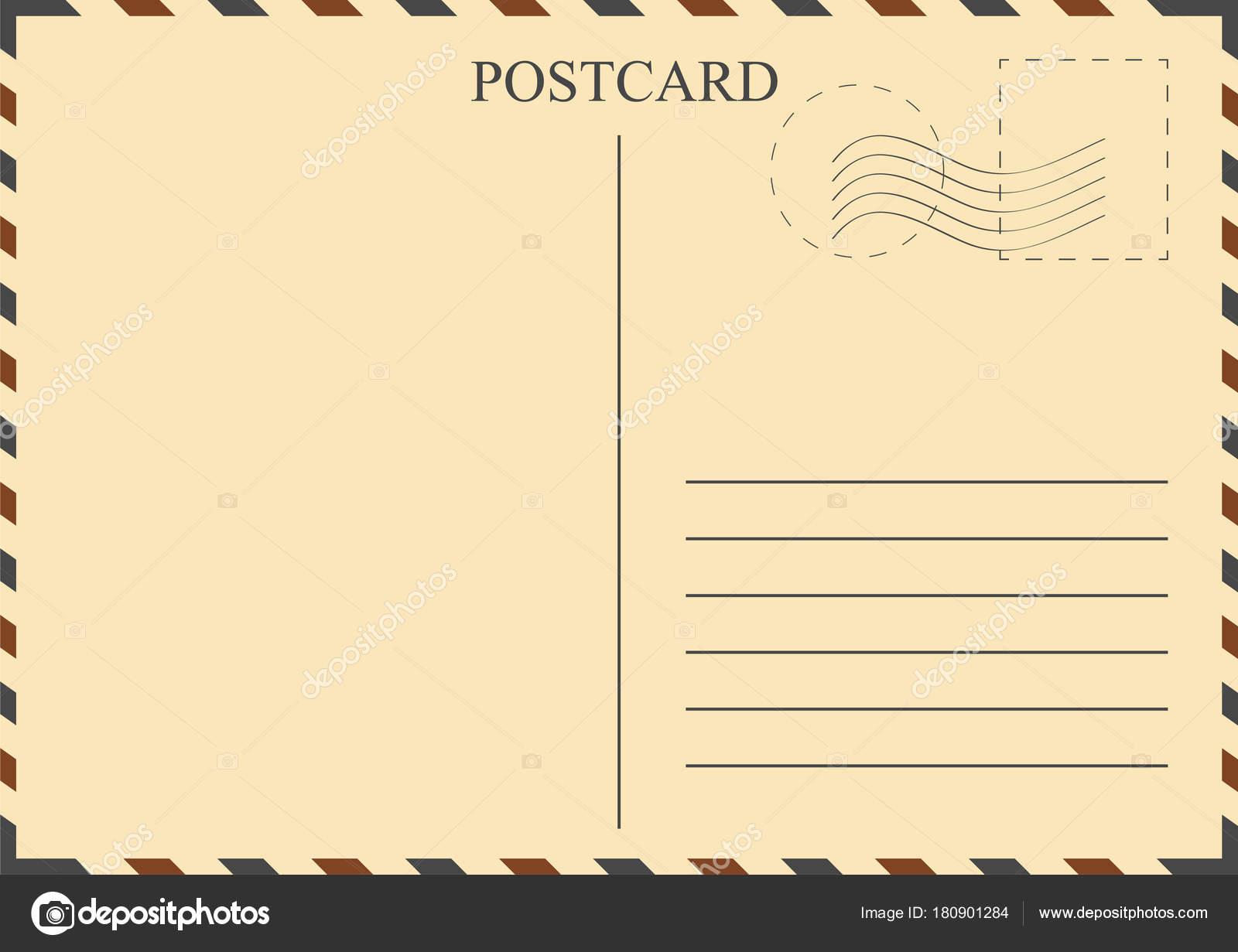 Postkarte-Vorlage. Alte Ansichtskarte mit Stempel — Stockvektor ...