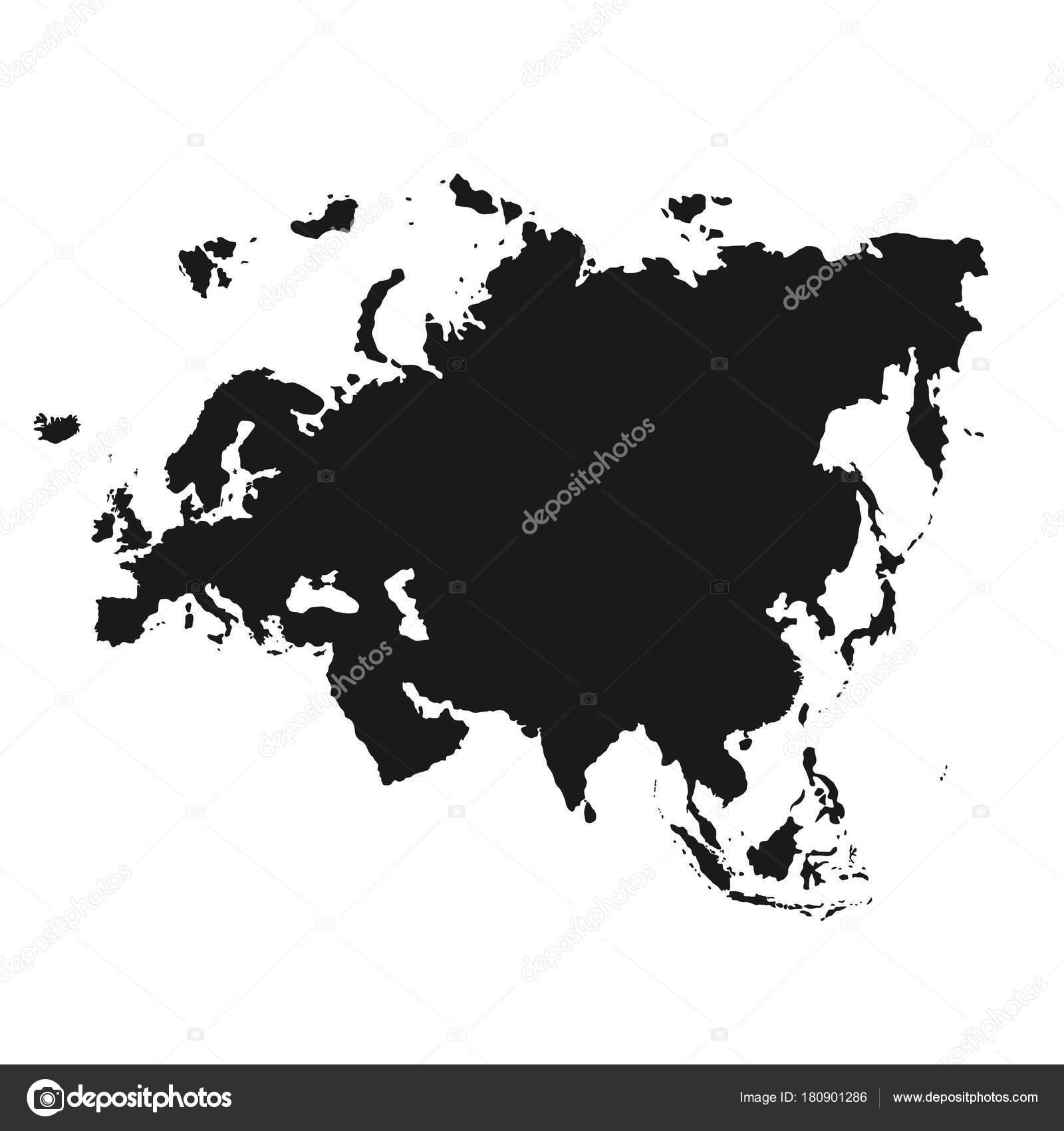 Europe map monochrome | Eurasia map. Monochrome Eurasia ...