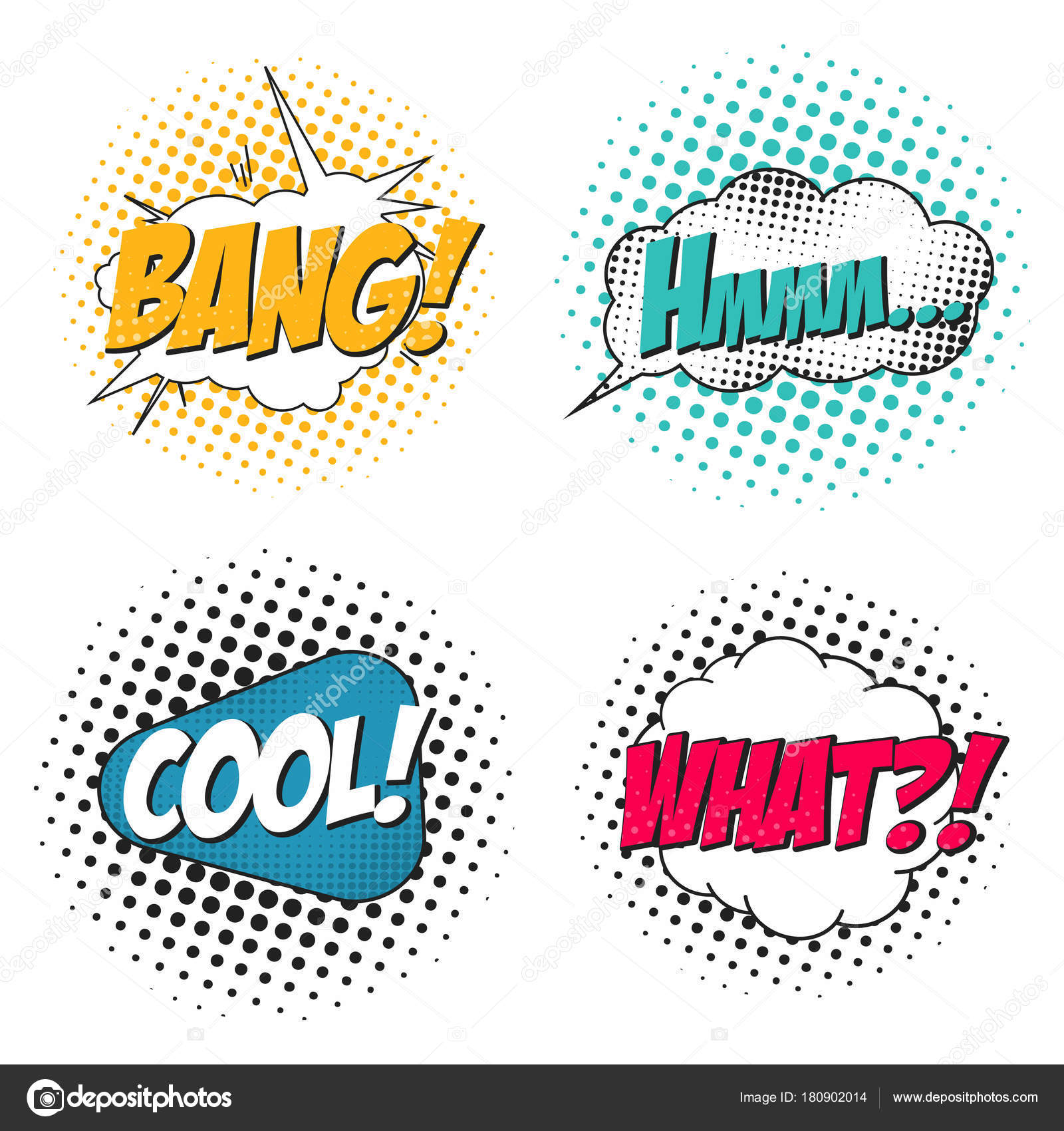 comic book sound effect set speech bubbles in pop art style what