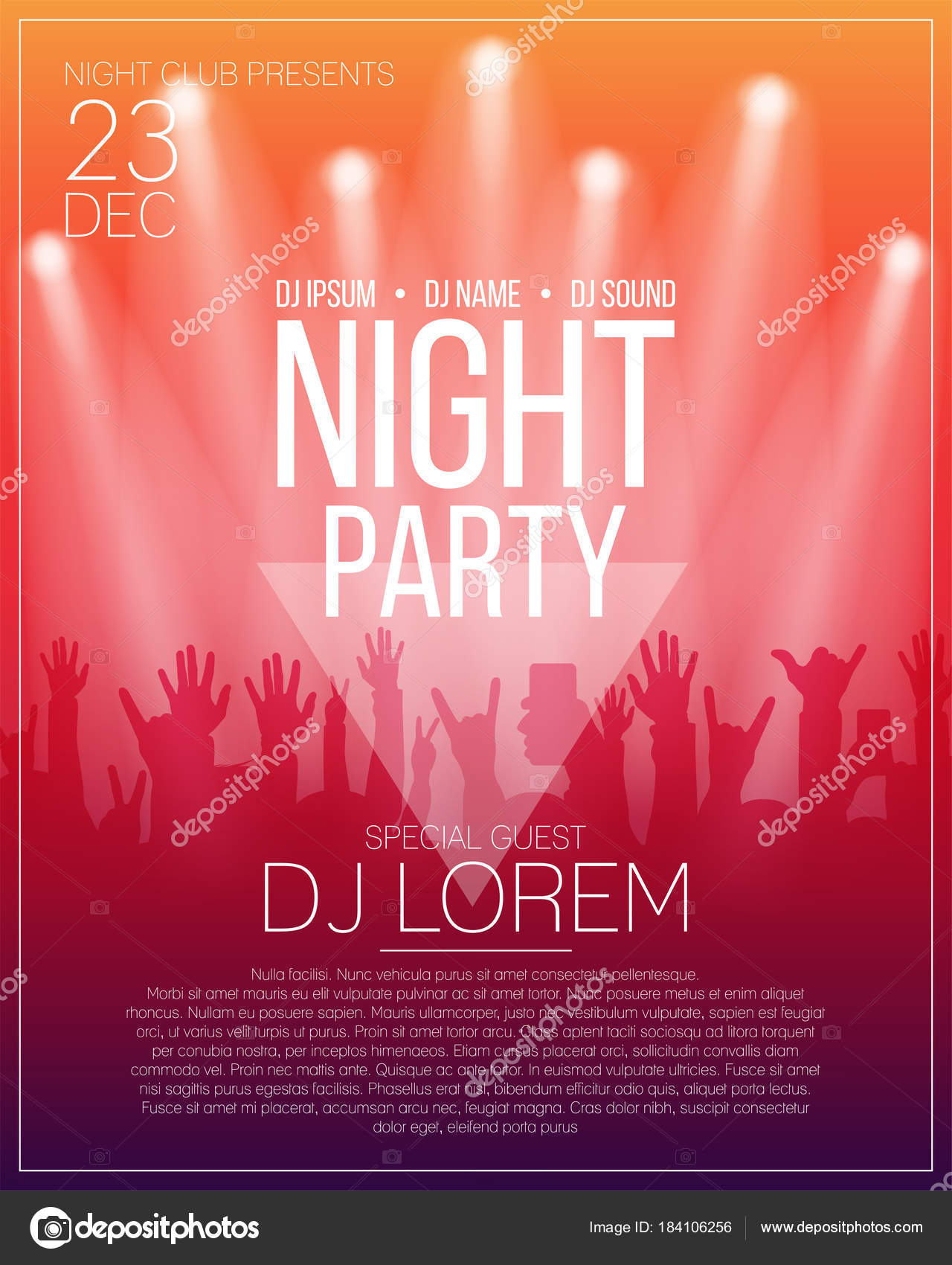 Dance party flyer or poster design template. Night party, dj concert ...