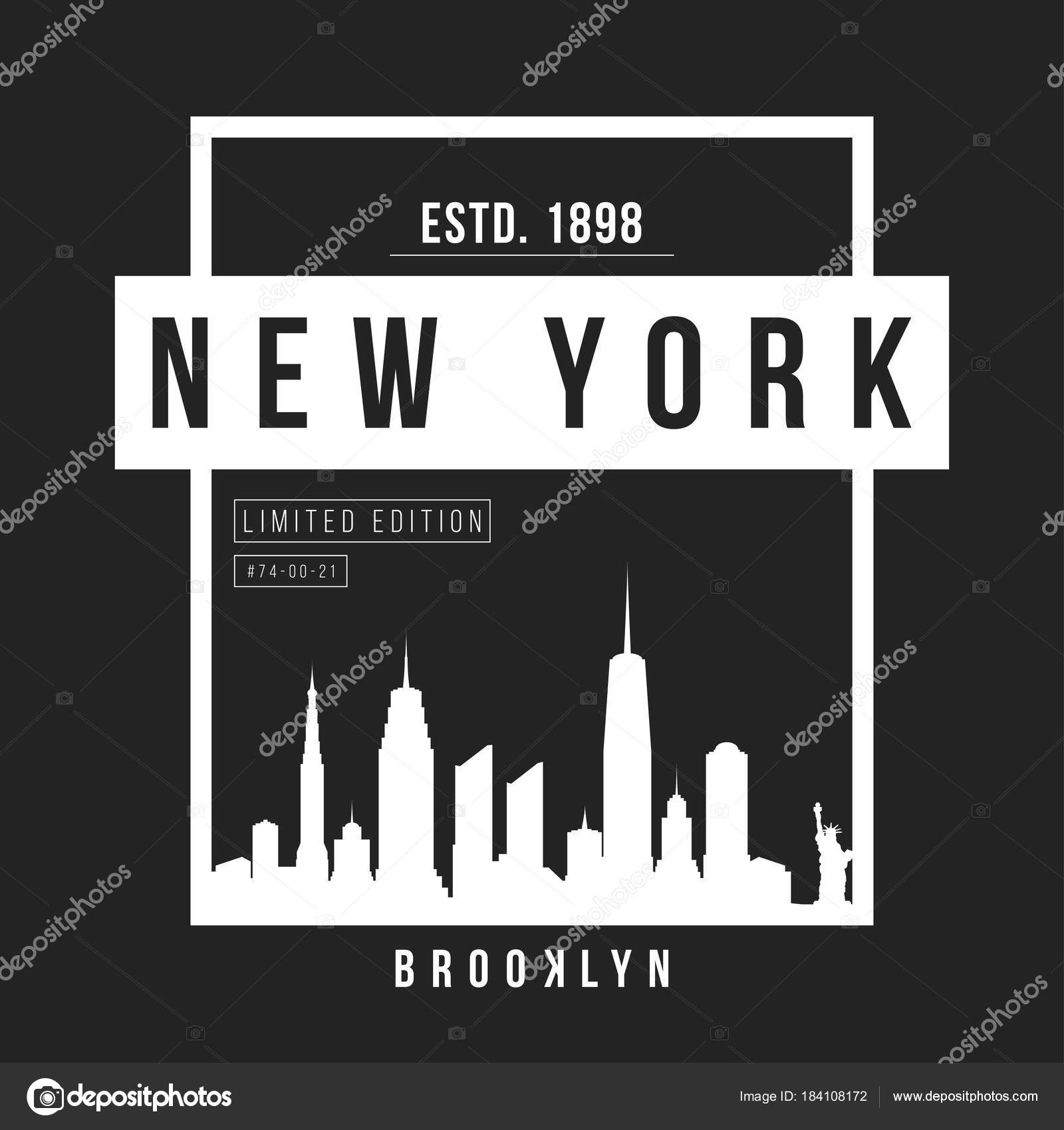 b8b0daed New York, Brooklyn typography for t-shirt print. New York City skyline for  tee graphic. T-shirt design.