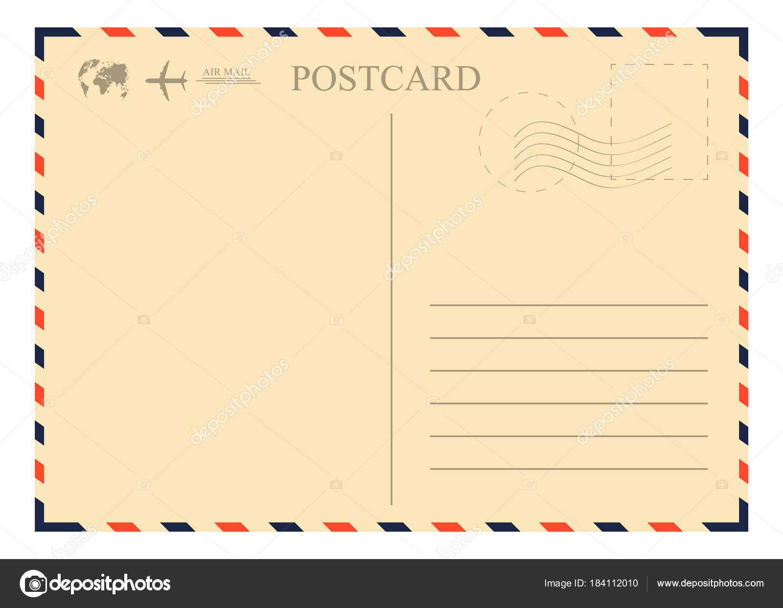 Alte Ansichtskarte Vorlage. Retro-Luftpost Umschlag mit Briefmarke ...