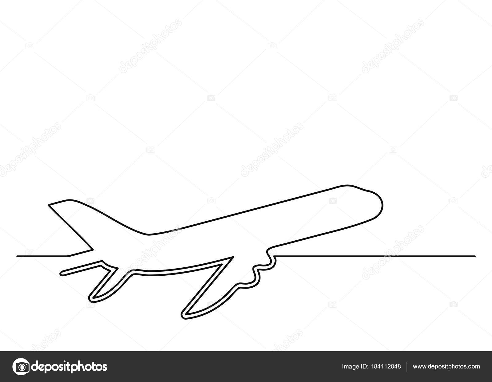 Plane Icon In Line Art Style Airliner Continuous Drawing Single