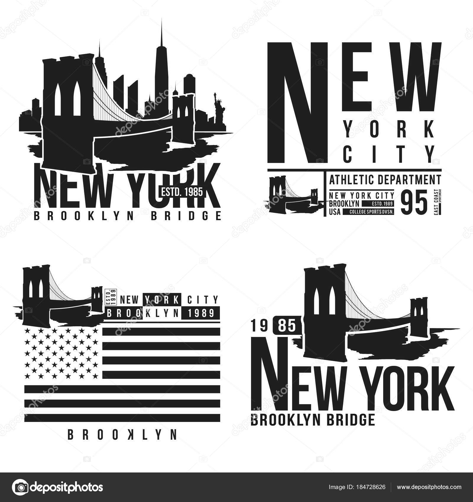 5d910e53 Set of New York, Brooklyn Bridge typography for t-shirt print. Stylized Brooklyn  Bridge silhouettes. Tee shirt graphic, t-shirt design.