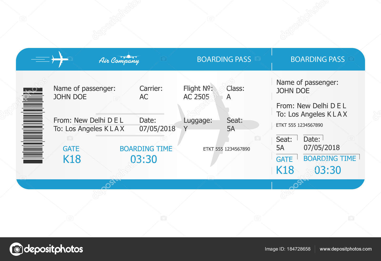Boarding pass ticket template. Airplane ticket. online Booking ...