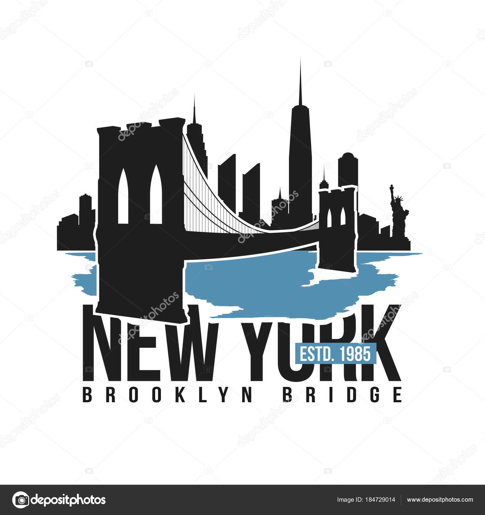 cd6b48bd New York, Brooklyn Bridge typography for t-shirt print. Stylized Brooklyn  Bridge silhouette. Tee shirt graphic, t-shirt design.