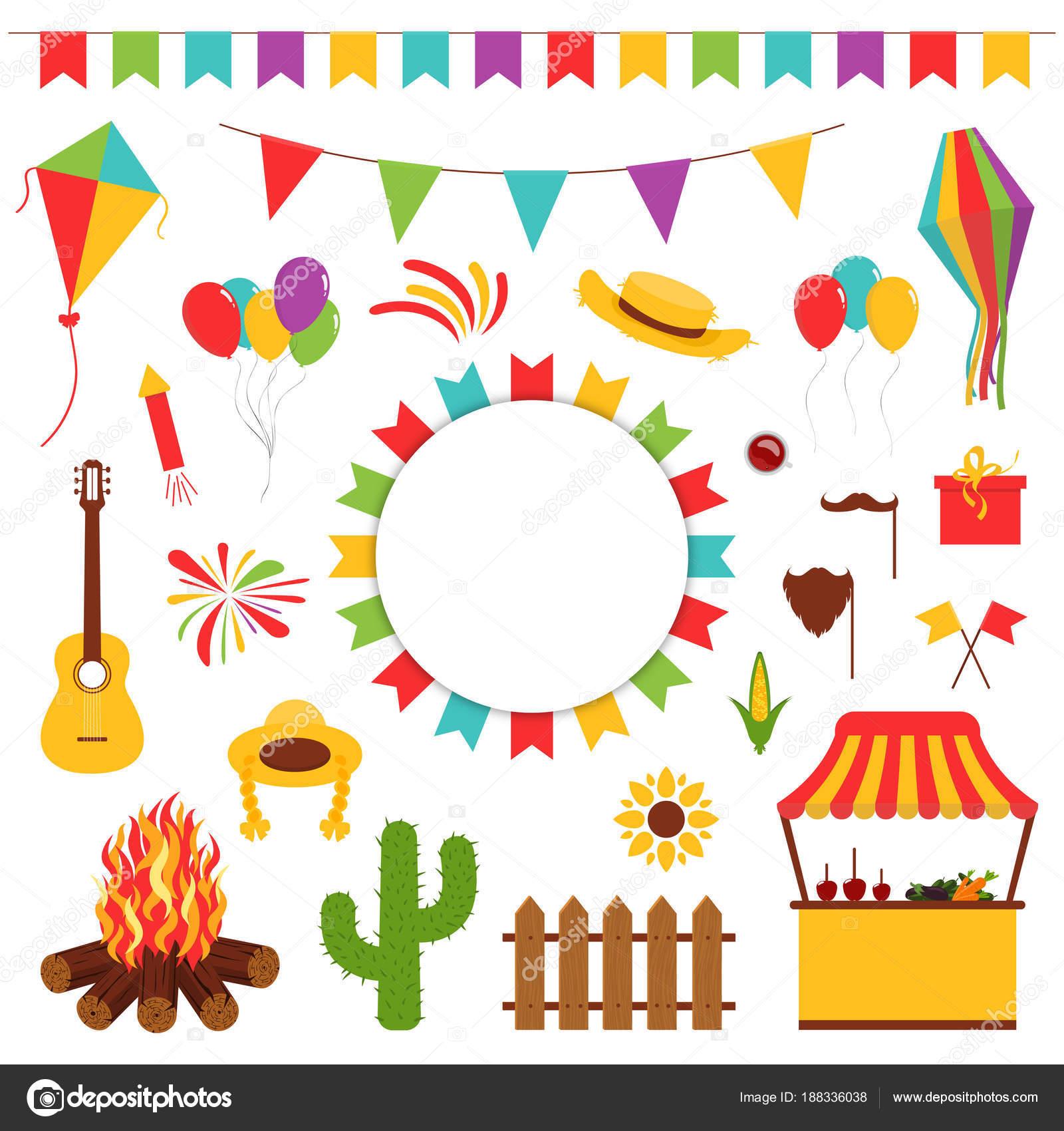 Festa Junina Festival Dekorative Elemente Karneval Fahnen