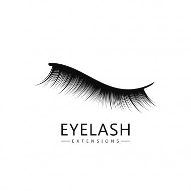 Eyelash logo template, Eyelash extension concept. Lush black lashes on white background for makeup and cosmetic industry