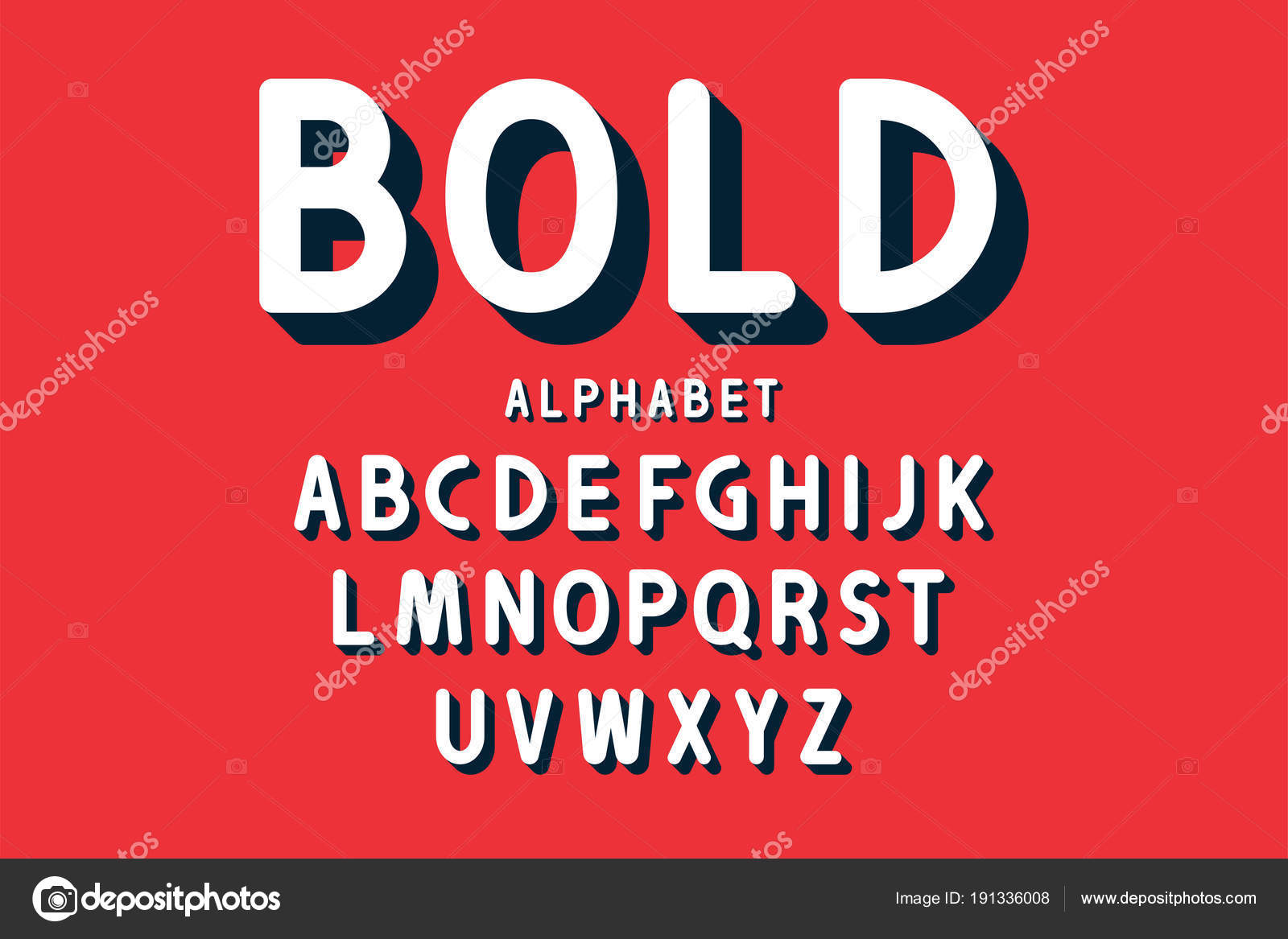 Retro Bold Font And Alphabet Rounded Letters With Long Shadows In Style Vintage Typography Vector By Yevgenij D