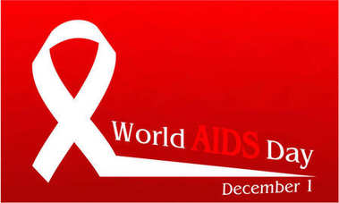 World Aids Day concept of Red polygonal background.