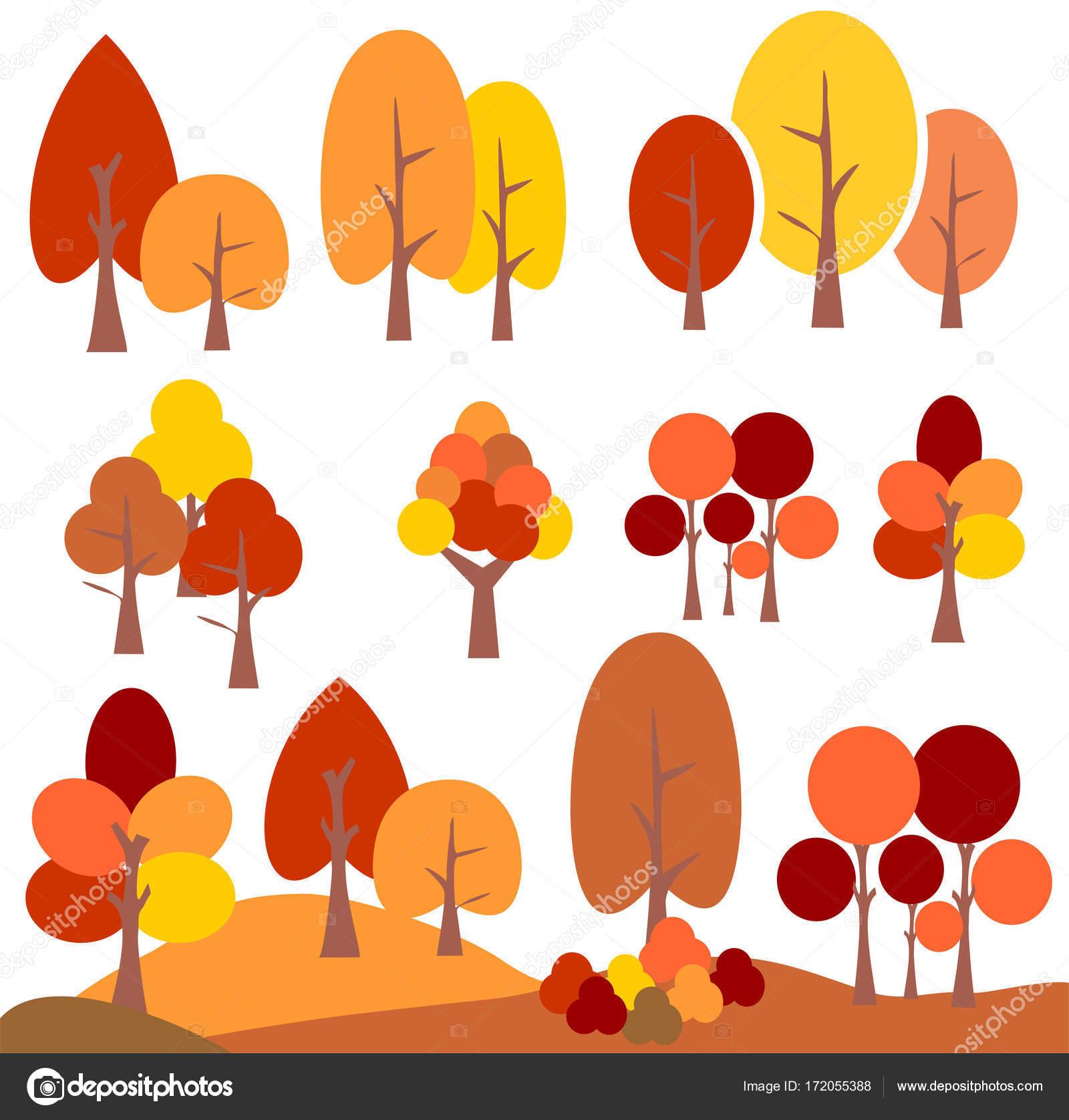 Herbst Baum Clipart Vektor Grafik Illustration Stockvektor