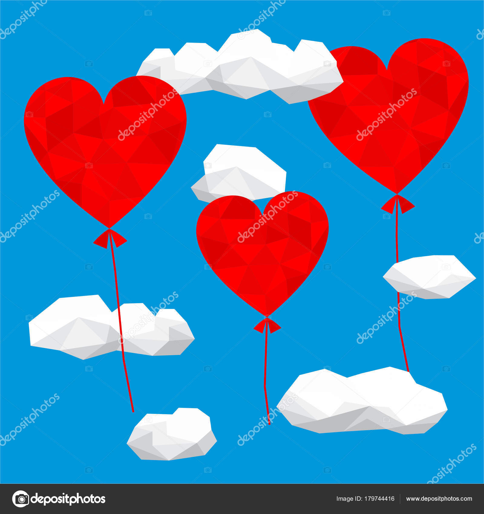 valentine day card design template low poly hearts shaped balloons