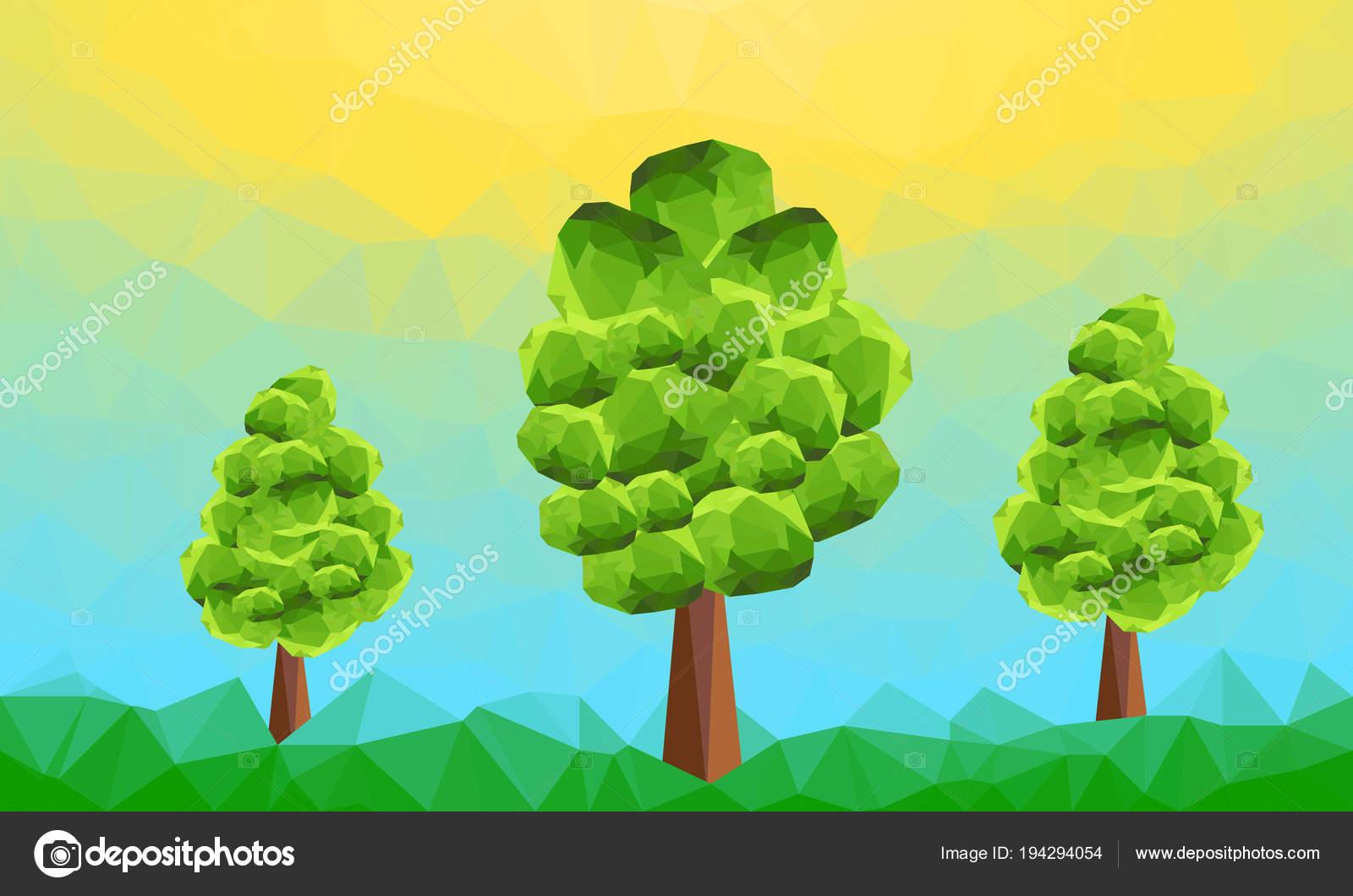 Resumen Poligonal Paisaje Verde Con Árboles Montaña Fondo Gráfico ...