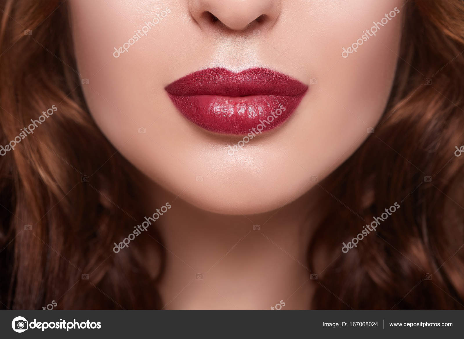 women lips with red lipstick close up perfect full lips stock
