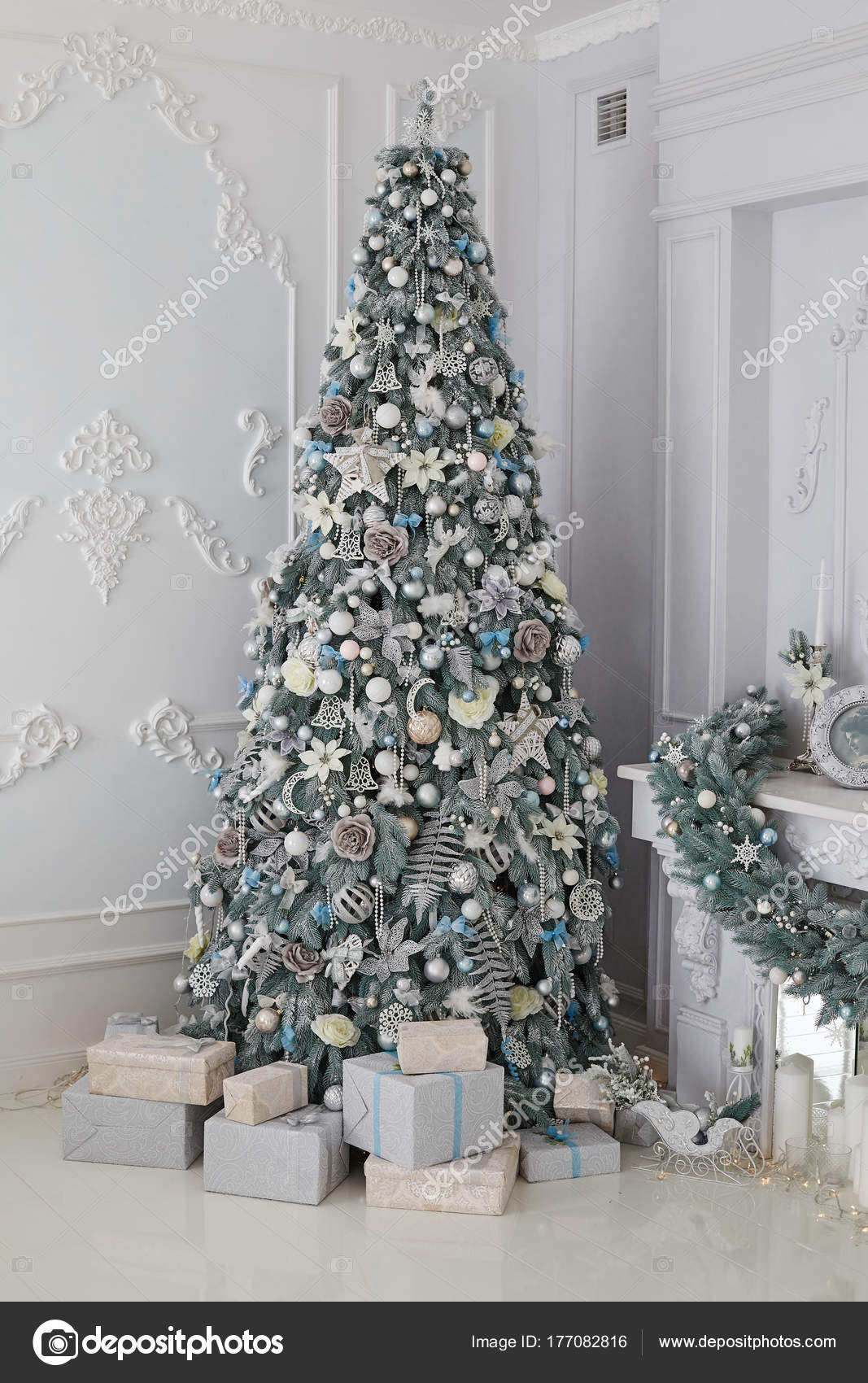 Beautiful Holiday Decorated Room Christmas Tree Presents White Silver Christmas Stock Photo Image By C Ovcharenkoviktoria 177082816