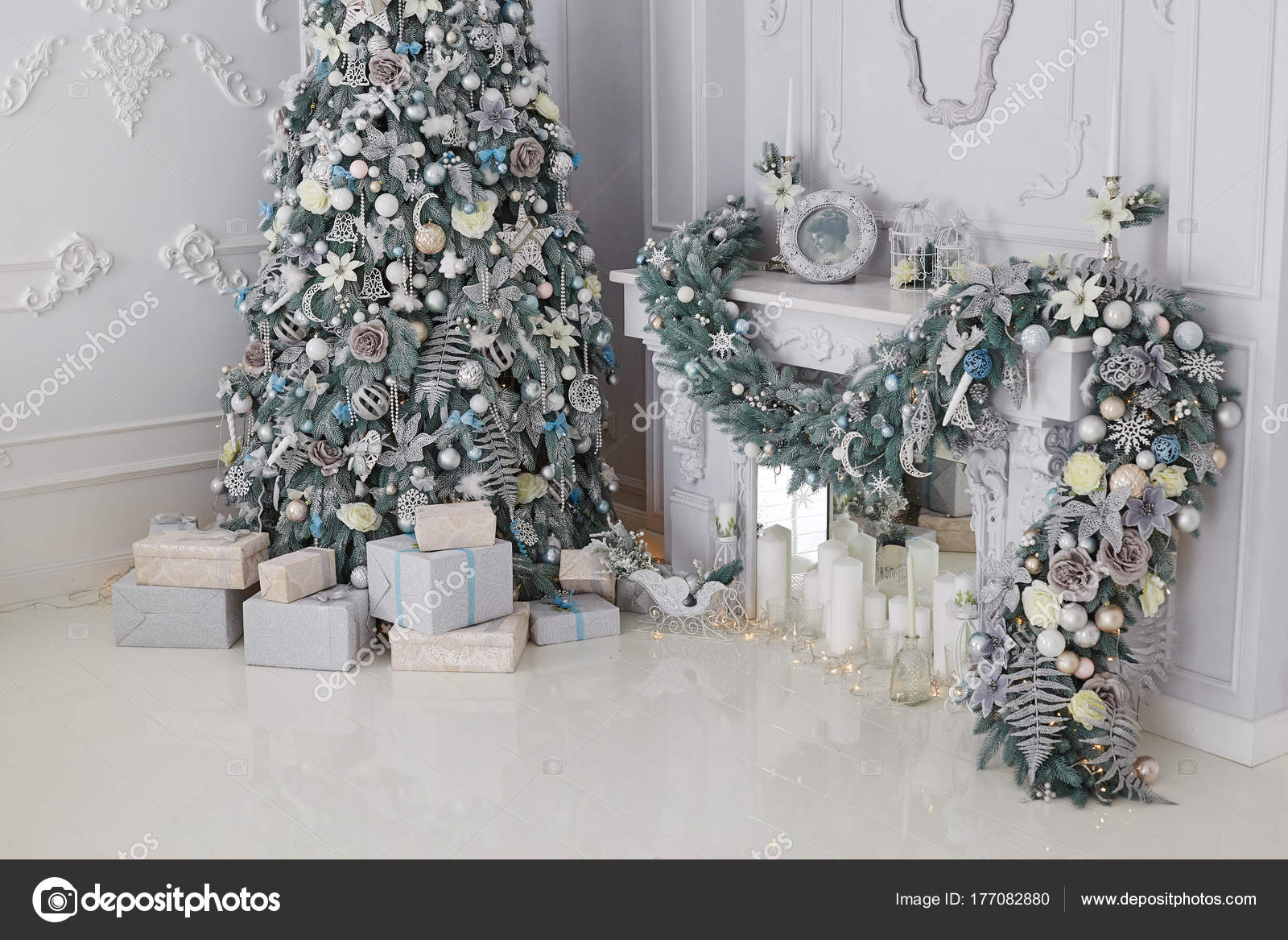 Beautiful Holiday Decorated Room Christmas Tree Presents White Silver Christmas Stock Photo Image By C Ovcharenkoviktoria 177082880