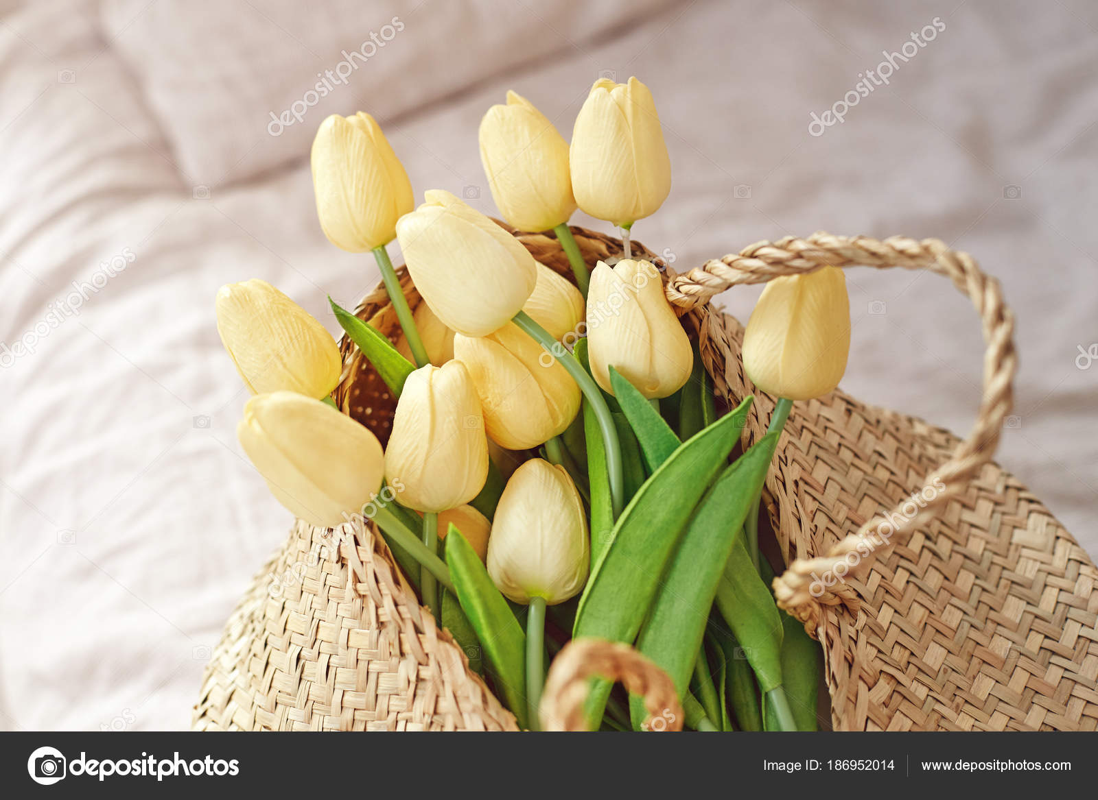 Mother Day Holiday Spring Yellow Tulips Flower Bunch Basket