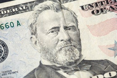 50 American Dollars banknote. President Grant portrait close-up. Financial concept.