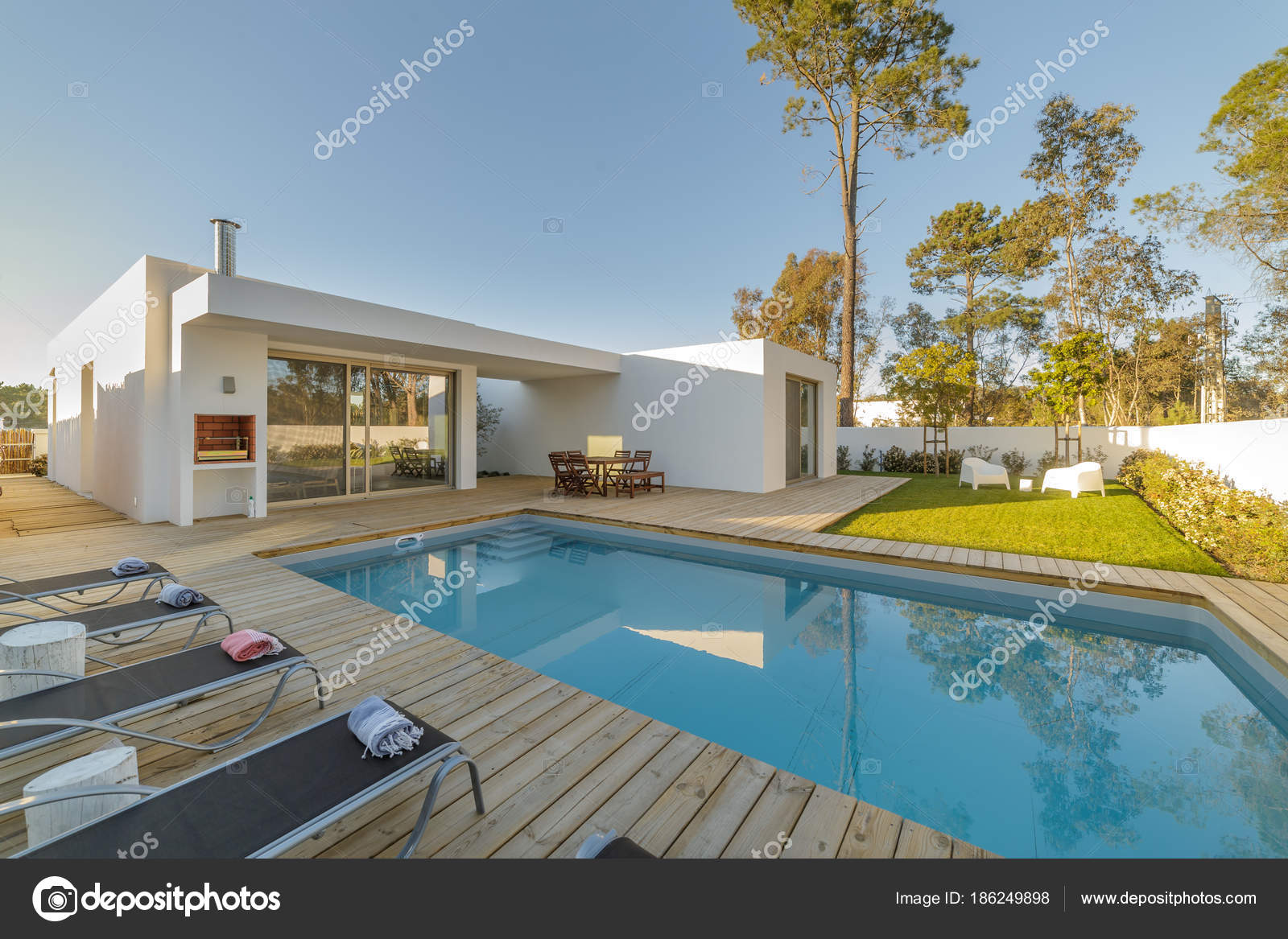 Garden With Swimming Pool modern house with garden swimming pool and wooden deck