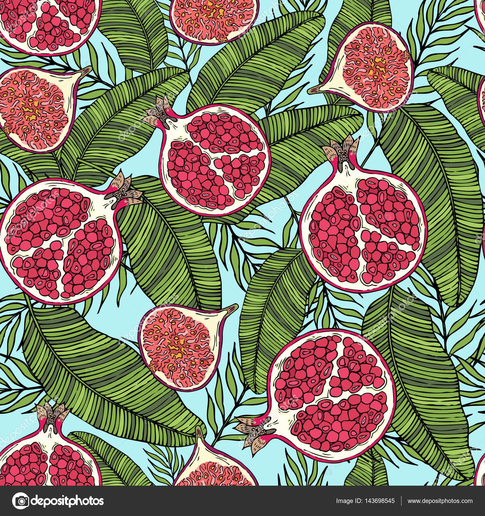 Muster der Früchte Granatapfel und Feigen auf die Farbe der Blätter ...
