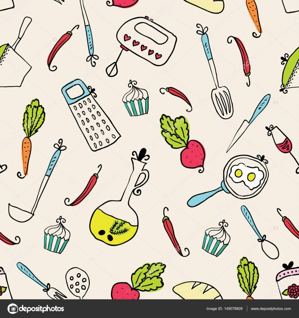 Muster der Küchenutensilien. Design-Elemente der Küche — Stockvektor ...