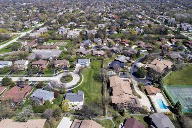 Aerial View of Suburban Neighborhood with Cul-De-Sac