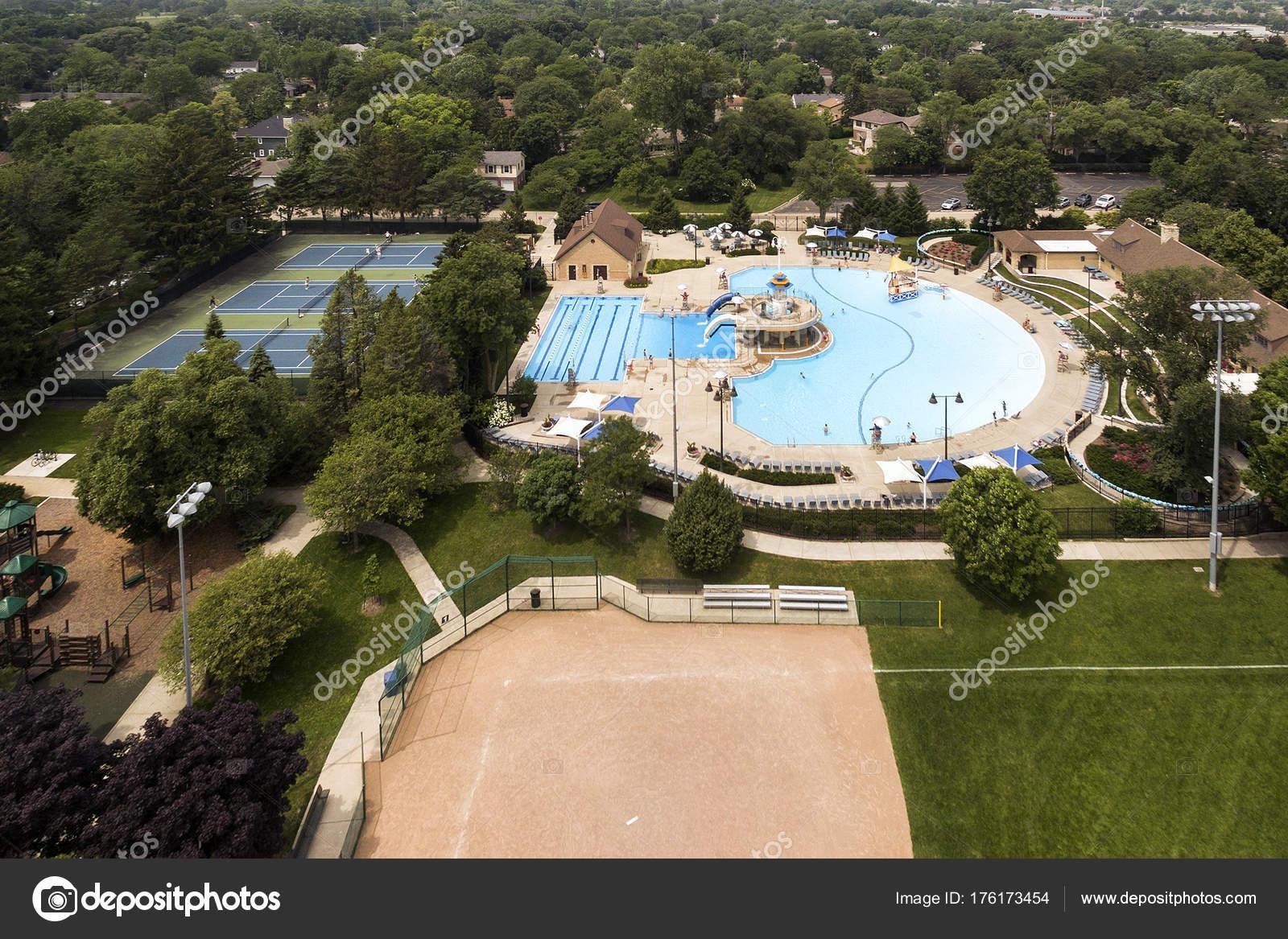 aerial of suburban community swimming pool stock photo