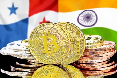 Concept for investors in cryptocurrency and Blockchain technology in the Panama and India. Bitcoins on the background of the flag Panama and India.