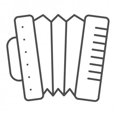 Accordion thin line icon. Folkloric accordion instrument outline style pictogram on white background. Patrick day and music sign for mobile concept and web design. Vector graphics.
