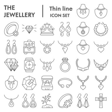 Jewellery thin line icon set, accessories symbols collection, vector sketches, logo illustrations, bijouterie signs linear pictograms package isolated on white background, eps 10.