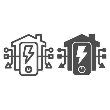 Electric panel in house line and solid icon, smart home symbol, centralized energy management at home vector sign on white background, energy supply icon in outline style. Vector graphics.