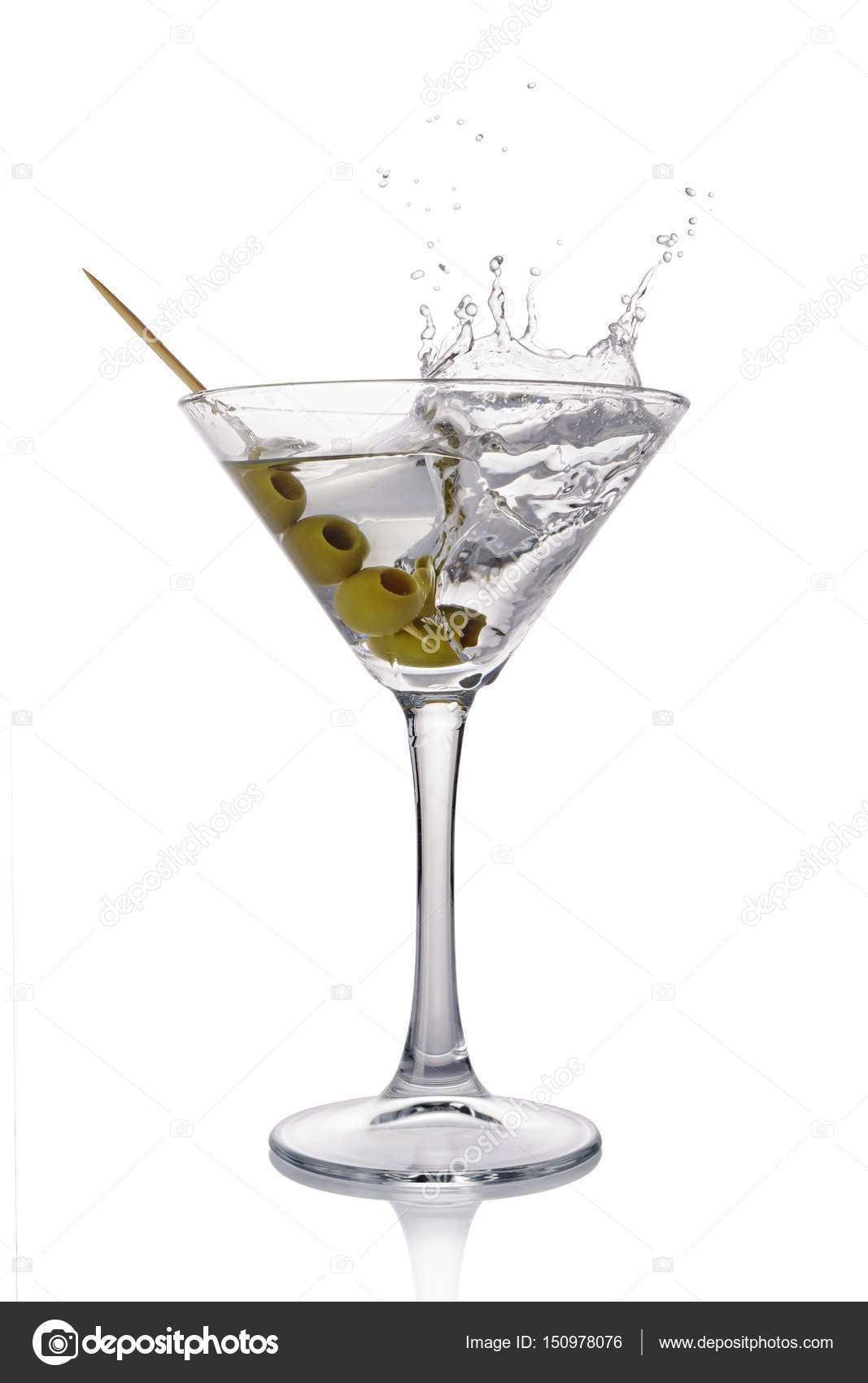 Splash In Martini Glass Of White Transparent Alcoholic Cocktail