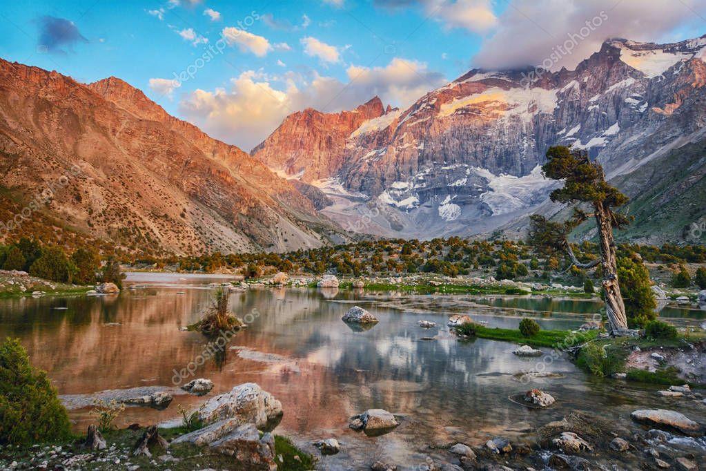 Landscape of beautiful Fan mountains and Kulikalon lake in Tajikistan