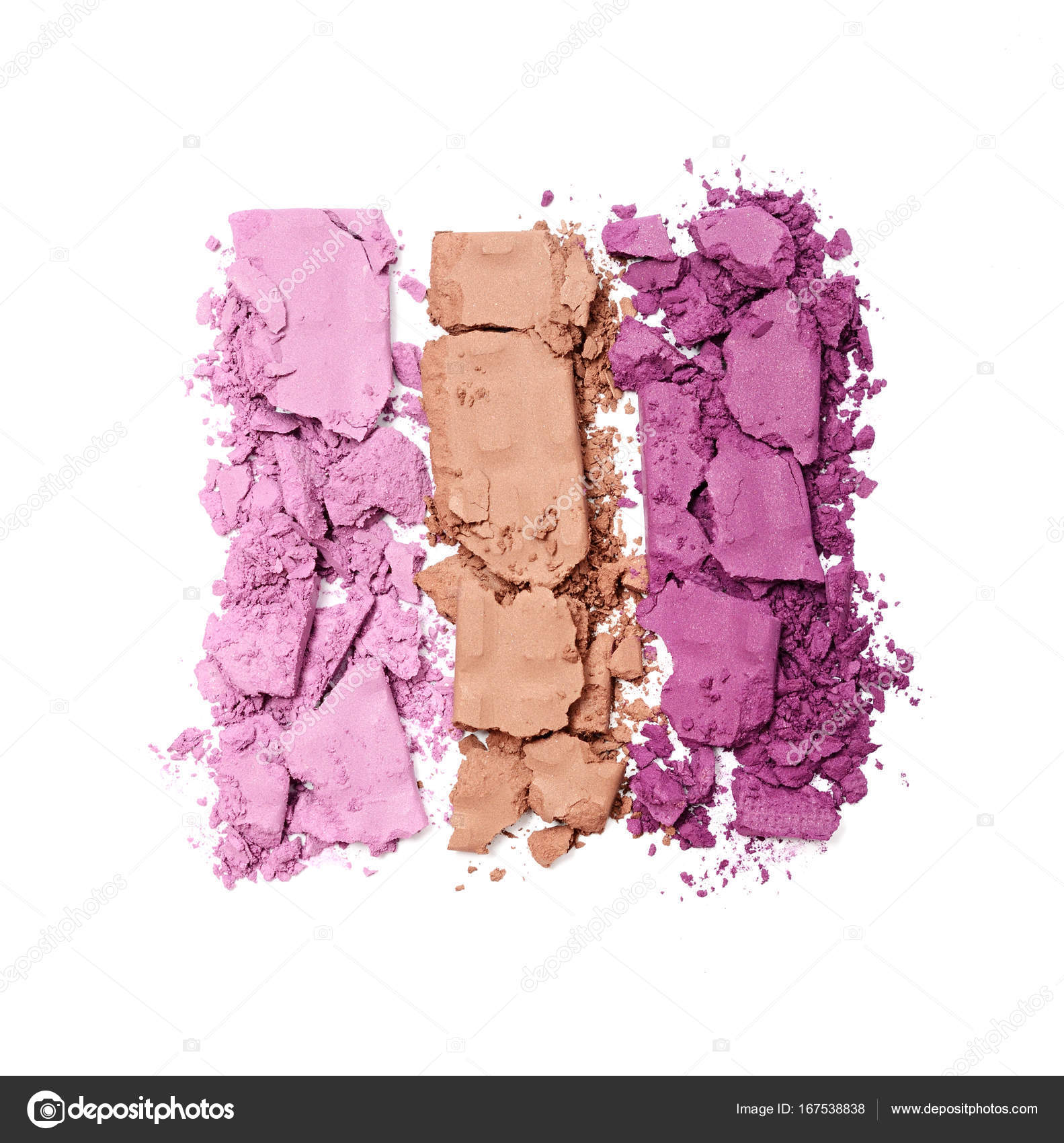 multicolored crushed eyeshadow for makeup as sample of cosmetic