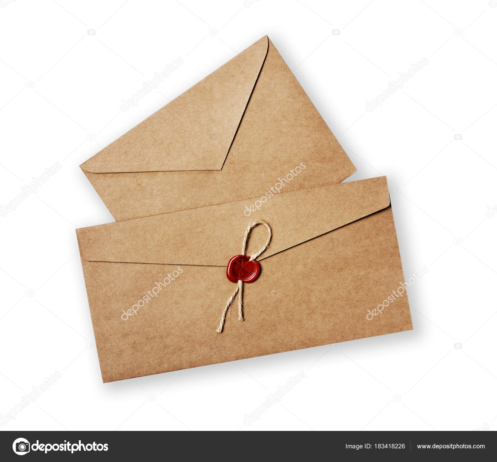two different vintage craft envelope with red wax seal stamp for