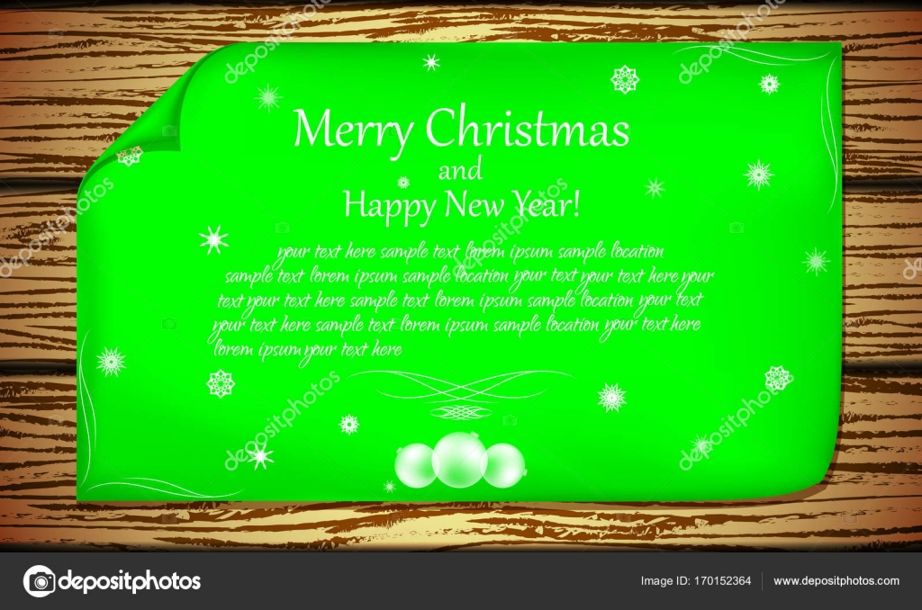 Leaflet With New Year And Christmas Greetings On The Background Of