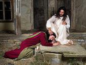 Fotografie Mary Magdalene weint der Scham und Salbung Jesu Füße