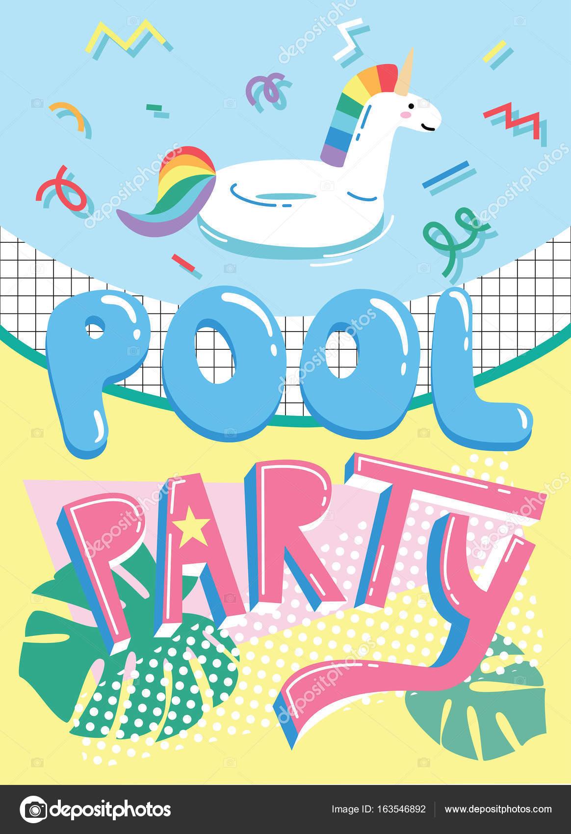 Pool Party Invitation Card Stock Vector Radiocat 163546892