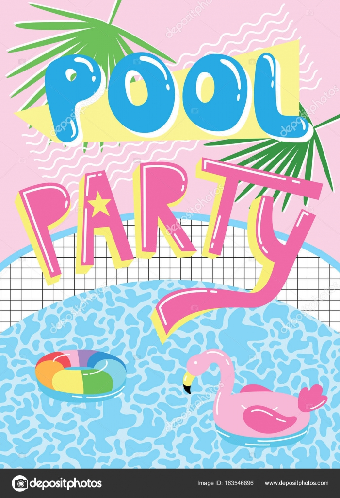 Pool party invitation card — Stock Vector © radiocat #163546896