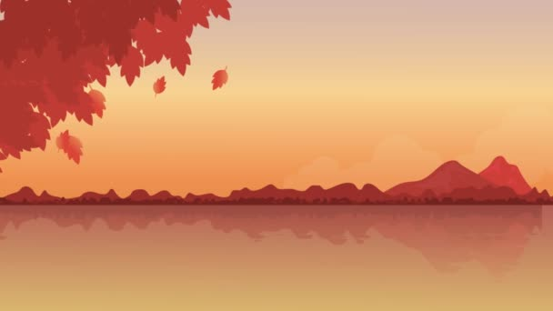 animated autumn scenery near the lake in various color motion graphics