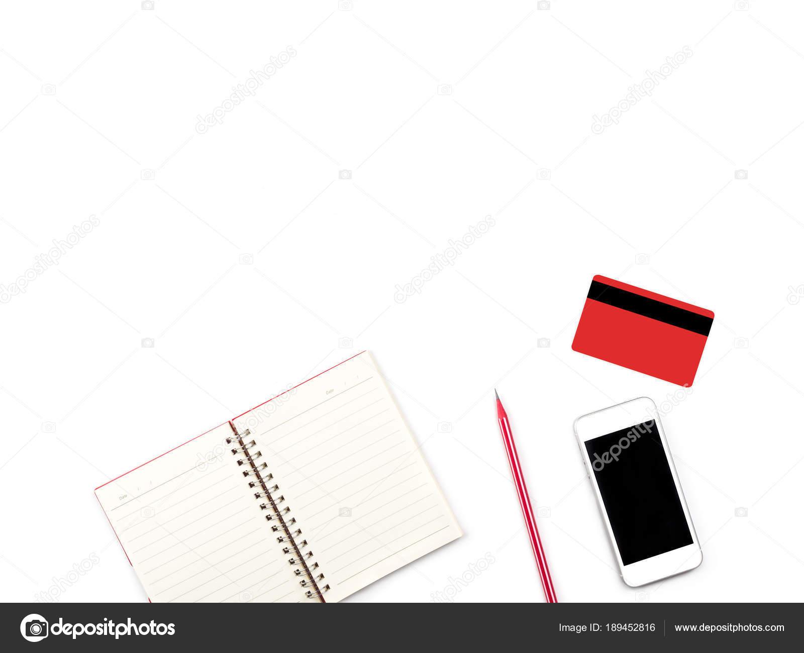 Compras Online en blanco oficina escritorio y mesa con credi ...