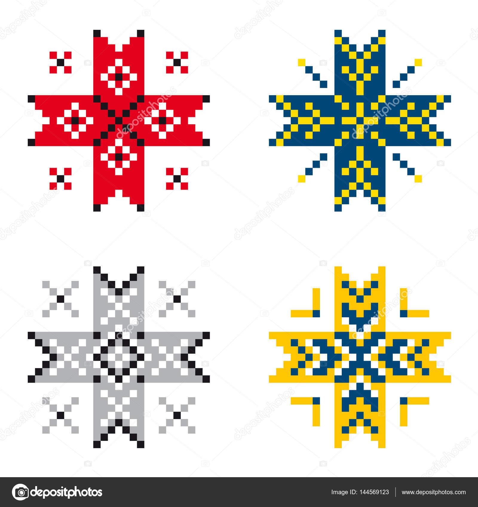 Conjunto de patrones de bordado étnico — Vector de stock © tina_k ...